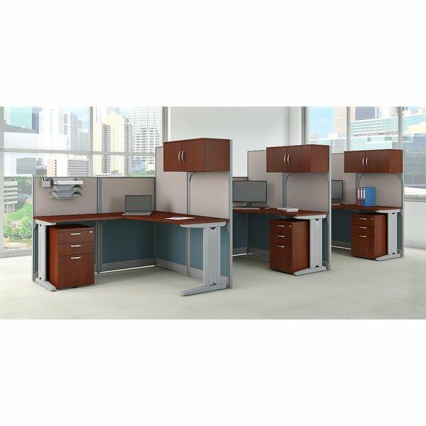 3 Person Cubicle Workstations 9 Piece L-Shape Desk Office Suite by Bush Business Furniture