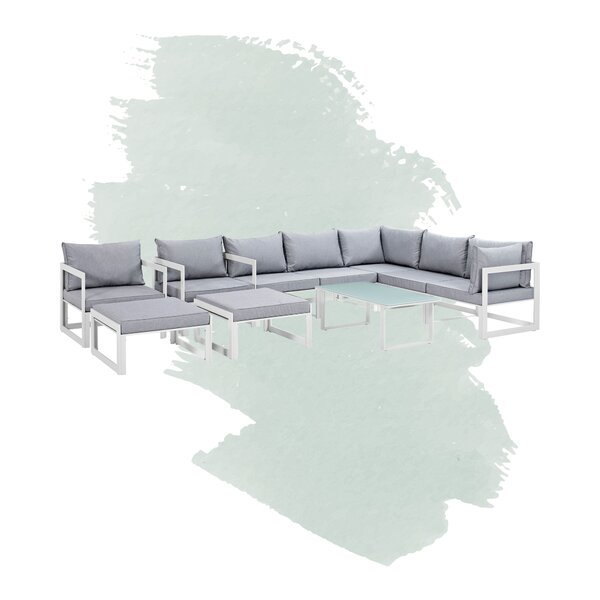 Annemarie Outdoor Patio 10 Piece Sectional Seating Group with Cushions by Foundstone