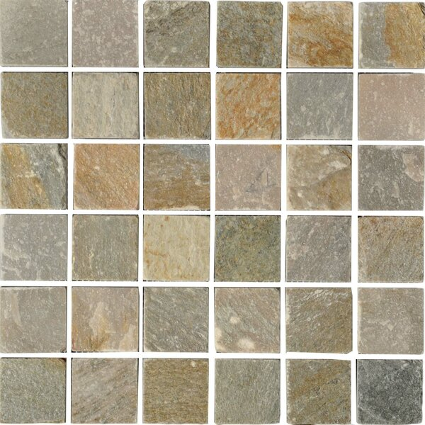 Century 2 x 2 Quartzite Stone Mosaic Tile in Natural by The Bella Collection
