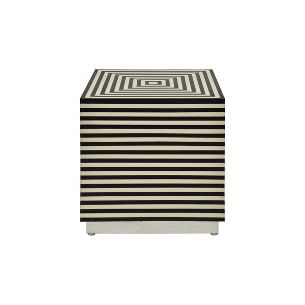 Horizontal Stripe Square Cube Ottoman by Worlds Away