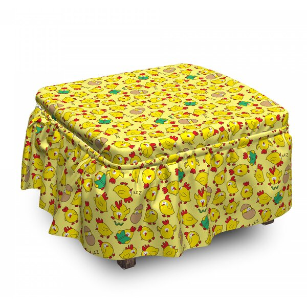Animal Poultry Hatching 2 Piece Box Cushion Ottoman Slipcover Set By East Urban Home