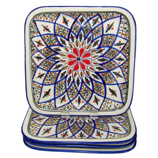 Tabarka Square Stoneware 9 Dinner Plate (Set of 4) by Le Souk Ceramique