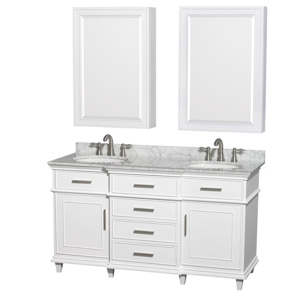 Berkeley 60 Double White Bathroom Vanity Set with Medicine Cabinet by Wyndham Collection