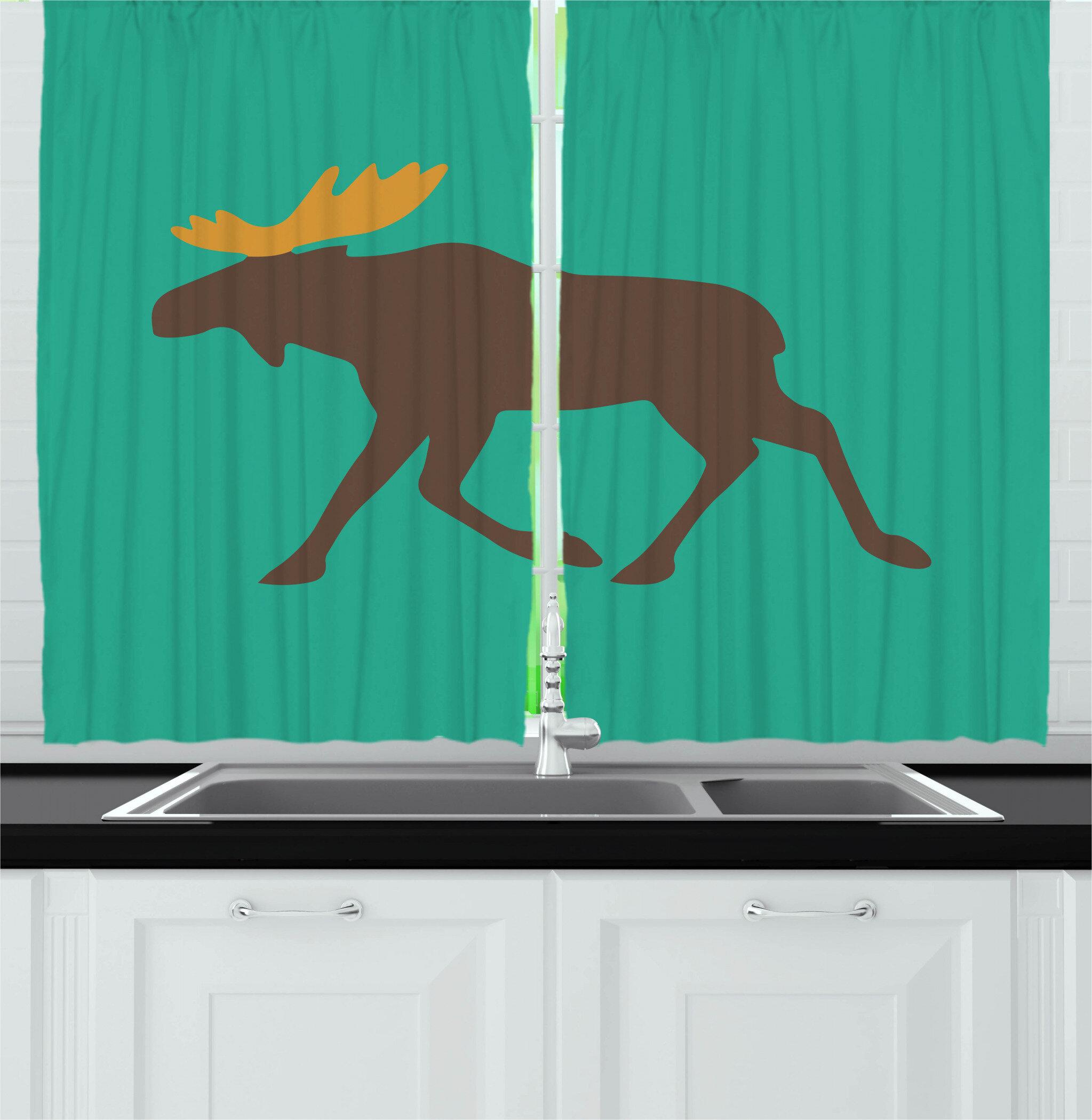 Moose 2 Piece Kitchen Curtain