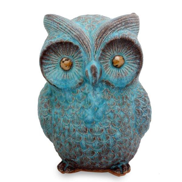 Wise Owl Ceramic Figurine by Novica