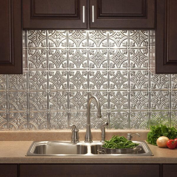 Traditional 18.25 x 24.25 PVC Backsplash Panel Kit in Brushed Aluminum by Fasade