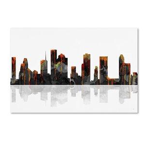 Houston Texas Skyline by Marlene Watson Graphic Art on Wrapped Canvas by Trademark Fine Art