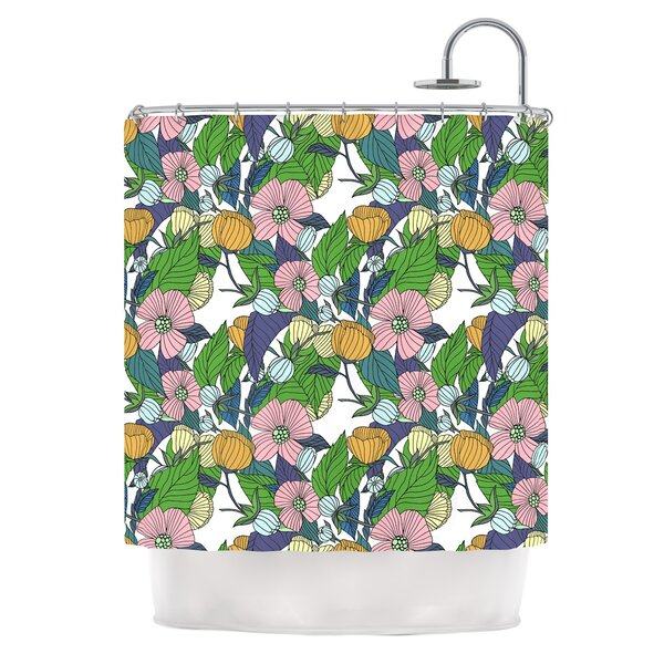 Spring Foliage by Catherine Holcombe Floral Pastels Shower Curtain by East Urban Home