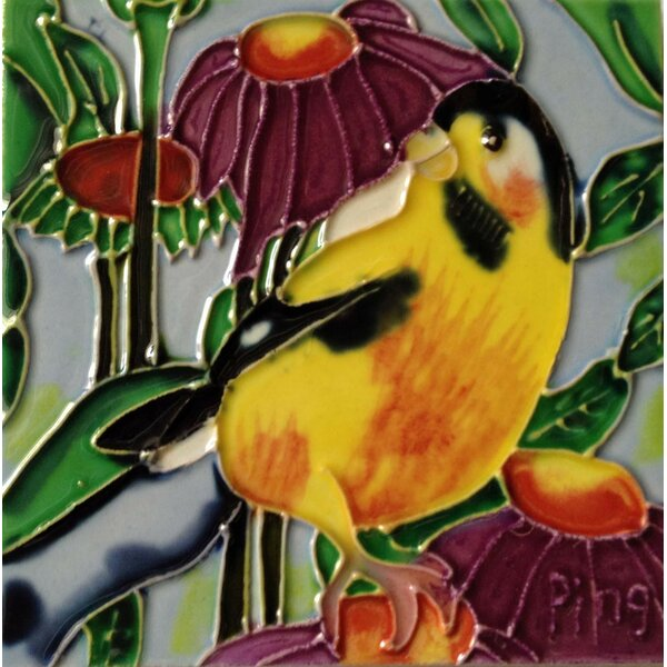 Gold Finch Tile Wall Decor by Continental Art Center