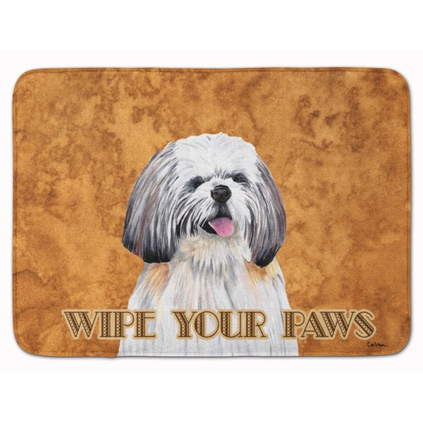 Shih Tzu Wipe your Paws Rectangle Microfiber Non-Slip Animal Print Bath Rug