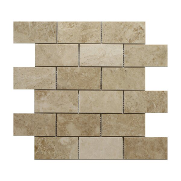 Cappuccino Brick 2 x 4 Marble Mosaic Tile in Beige by Seven Seas