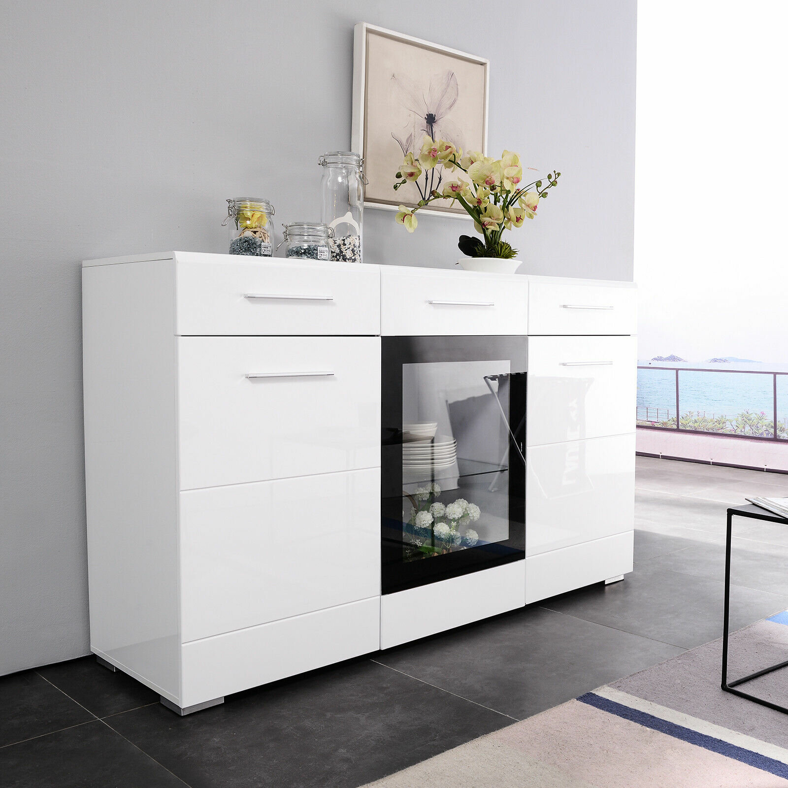 None Console Table Buffet Sideboard Wine Cabinet With Seven Open Shelves Black And Walnut Finish Two Drawers Buffets Sideboards Home Kitchen