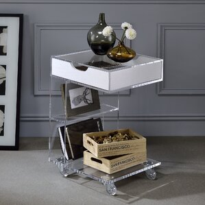 Whitney Acrylic Capri End Table With Storage by Wade Logan