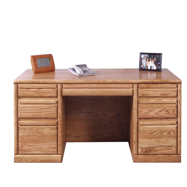 Jarrell Executive Desk with 3 Right & 3 Left Drawers by Loon Peak