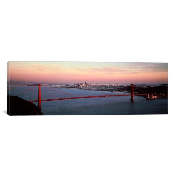 Panoramic Suspension Bridge Across a Bay, Golden Gate Bridge, San Francisco Bay, San Francisco, California Photographic Print on Wrapped Canvas by iCanvas