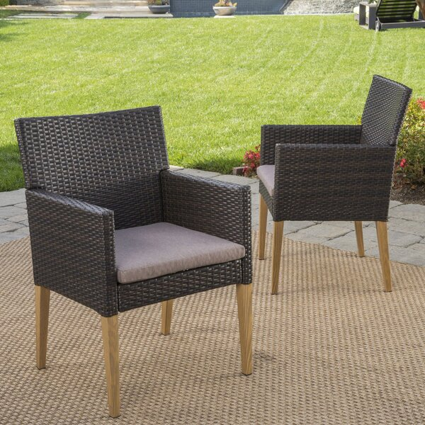 Norfork Wicker Patio Dining Chair with Cushion (Set of 2) by Mistana