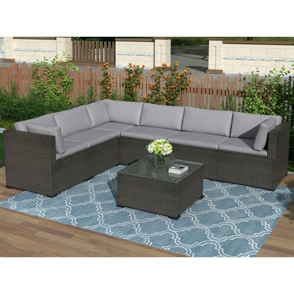Osprey Furniture Outdoor 7 Piece Rattan Sectional Seating Group with Cushion by Latitude Run