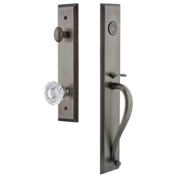 Fifth Avenue S Grip Single Cylinder Handleset with Versailles Interior Knob by Grandeur