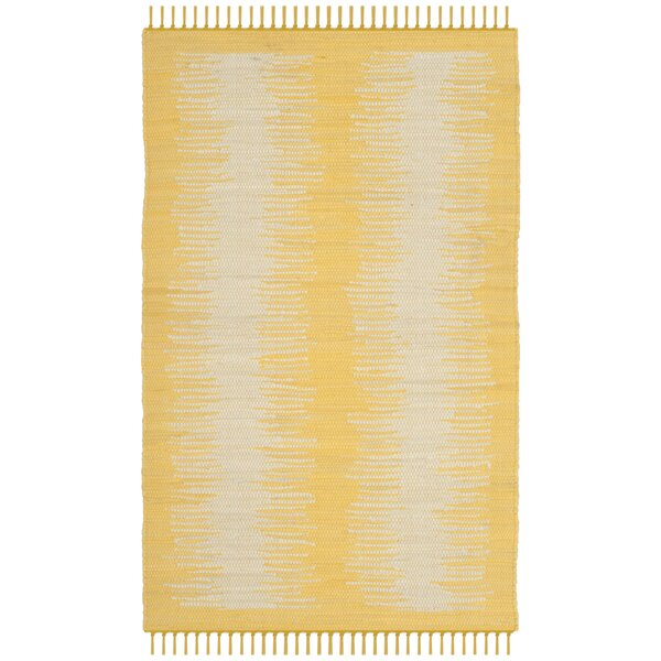 Cayman Hand-Woven Yellow/Gray Area Rug by Highland Dunes