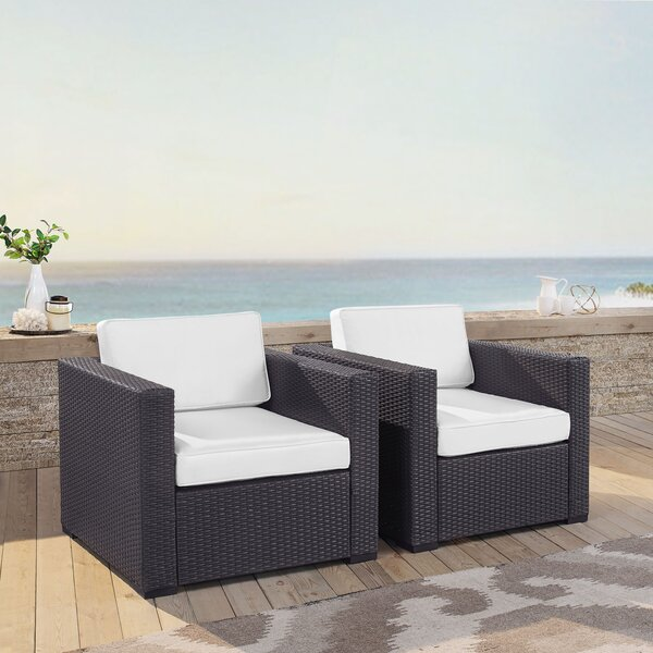 Dinah 2 Person Outdoor Wicker Chair with Cushions (Set of 2) by Highland Dunes