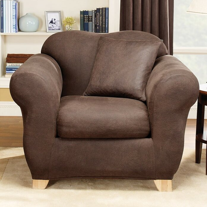Sure Fit Stretch Leather Box Cushion Armchair Slipcover Reviews Wayfair