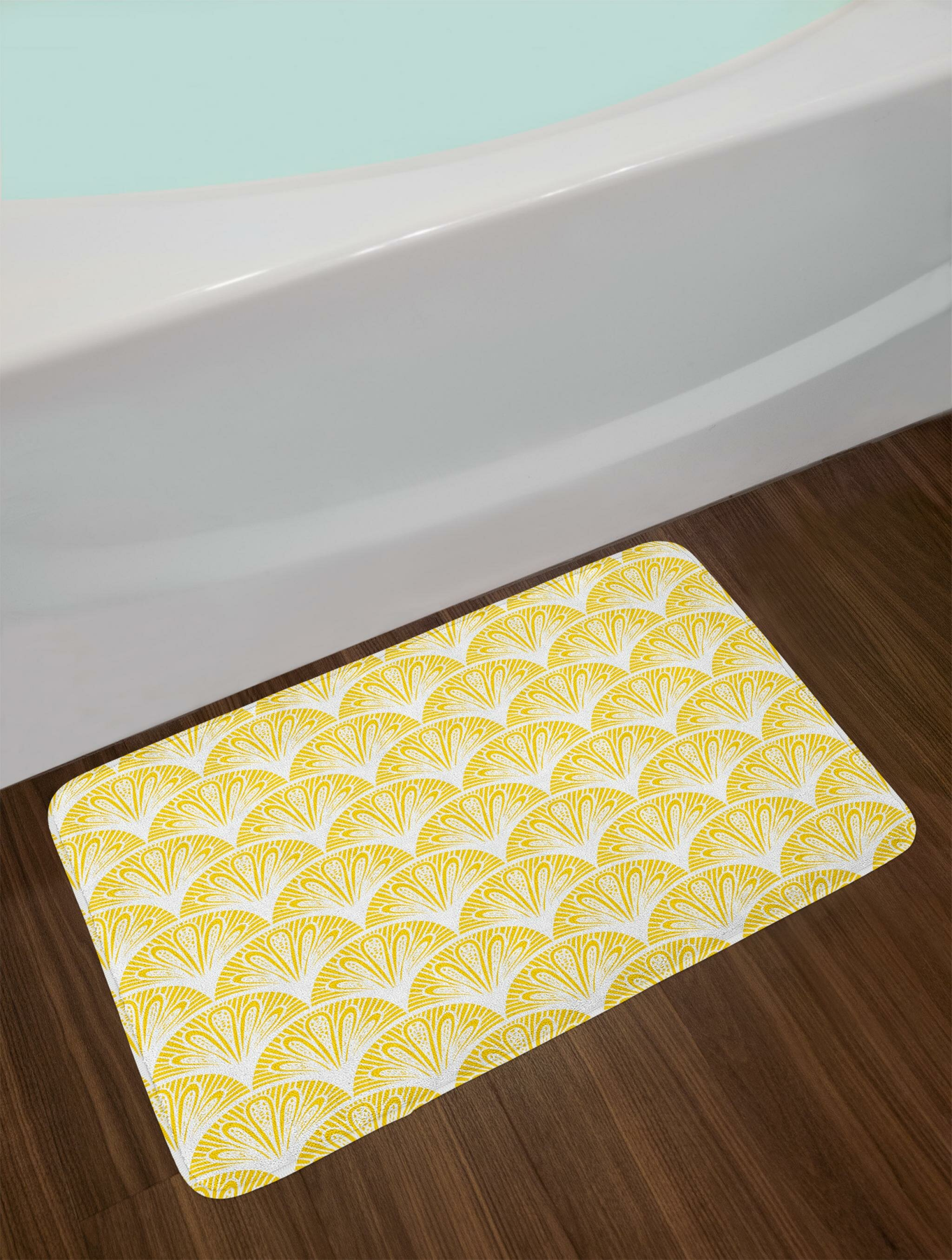 East Urban Home Rounded Yellow And White Bath Rug Wayfair