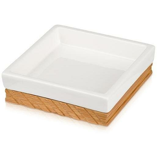 Tregre Ceramic Bamboo Wood Square Soap Dish by Union Rustic