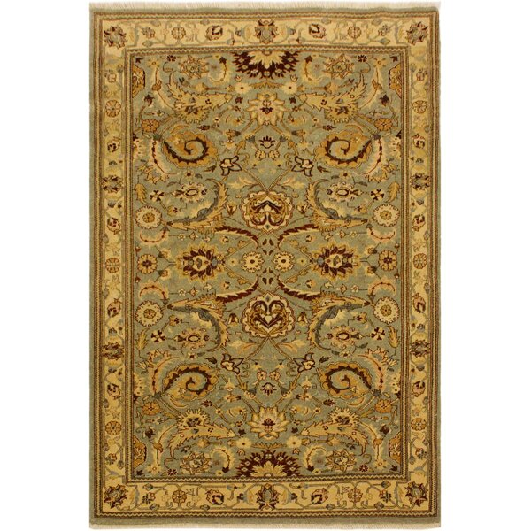 One-of-a-Kind Ernesto Turkish Hand-Knotted Wool Light Green/Gold Area Rug by Darby Home Co