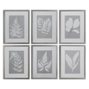 'Moonlight Ferns' 6 Piece Framed Painting Print Set by Three Posts