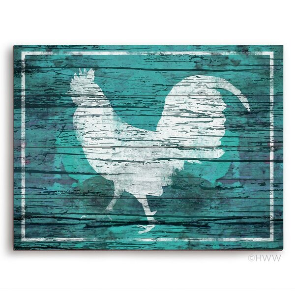 Distressed Wood Rooster Painting Print in Blue by Click Wall Art