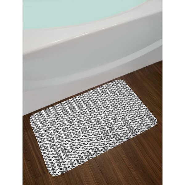 Grid Style Lines Monochrome Interlace Squares Modern Digital Art Pattern Bath Rug by East Urban Home