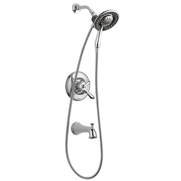 Linden Tub and Shower Trim Package with In2ition Shower Head and Hand Shower (Rough-In Valve Not Included) by Delta