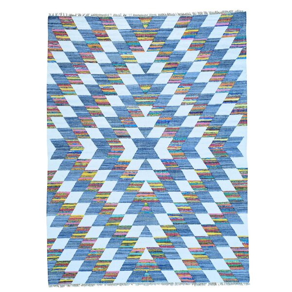 One-of-a-Kind Greenwalt Natural Dyes Hand-Knotted Cotton Purple/Denim Blue Area Rug by Bloomsbury Market