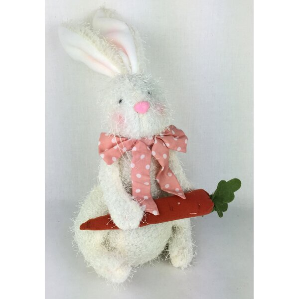 Fabric Bunny with Carrot Figurine by Craft Outlet
