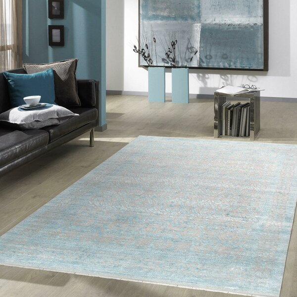 Transitiona Hand-Knotted Wool/Silk Silver Area Rug
