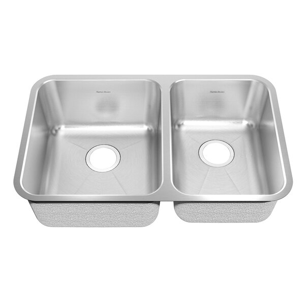 Prevoir 35.19 L x 22.06 W Stainless Steel Undermount Double Combination Bowl Kitchen Sink by American Standard