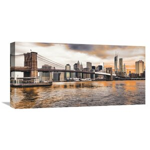 Brooklyn Bridge and Lower Manhattan at Sunset, New York City Wall Art on Wrapped Canvas by Global Gallery