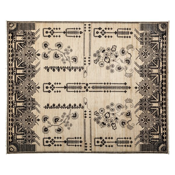 One-of-a-Kind Eclectic Hand-Knotted Ivory Area Rug by Darya Rugs