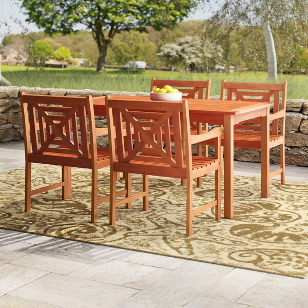 Monterry 5 Piece Eucalyptus Hardwood Dining Set by Beachcrest Home