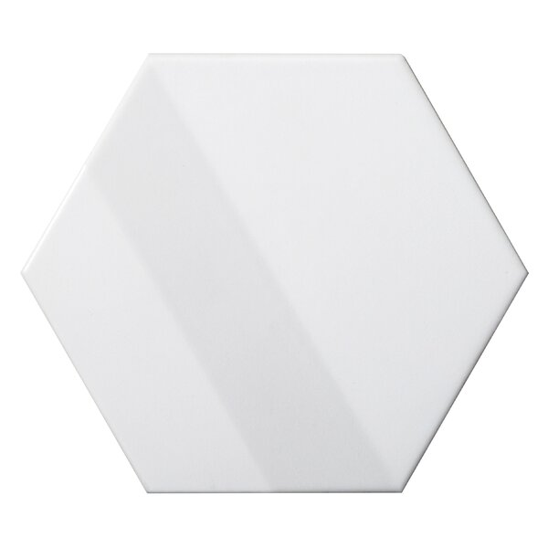 Code Hex 3D 6 x 7 Ceramic Field Tile in White by Emser Tile