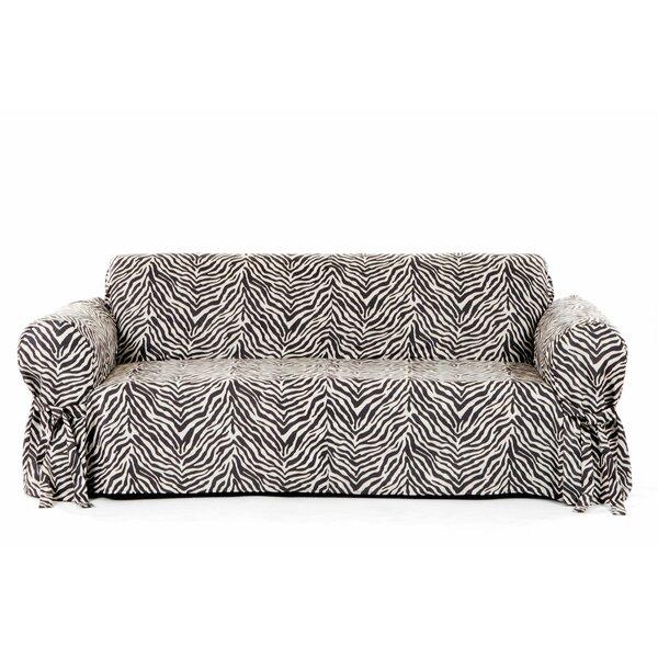 Zebra Print Box Cushion Sofa Slipcover by Classic Slipcovers