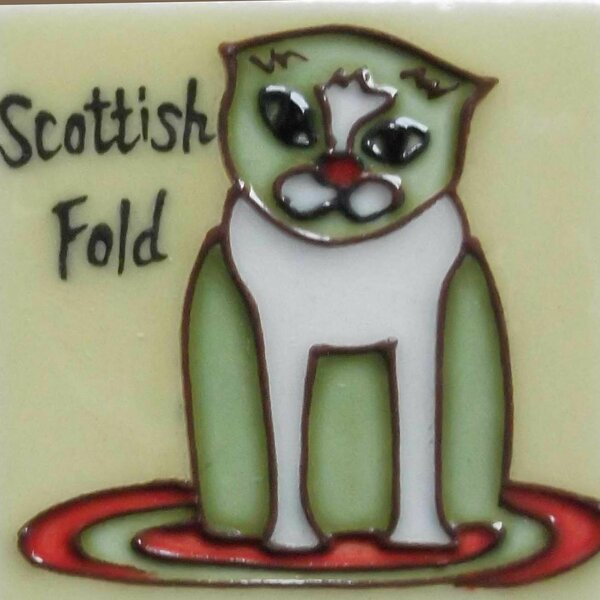 Cat Scottish Fold Tile Magnet by Continental Art Center