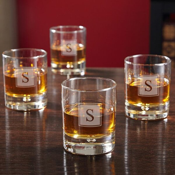 Drewry  Monogram 8 oz. Glass Cocktail Glass (Set of 4) by Darby Home Co