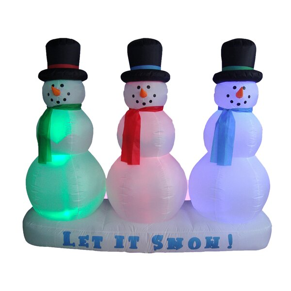 Christmas Inflatable Snowmen Lightshow Decoration by Three Posts