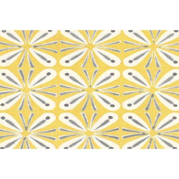 Battaglia Yellow/Grey Area Rug by Ebern Designs