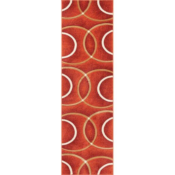 Bernard Chester Circles Modern Orange Area Rug by Orren Ellis