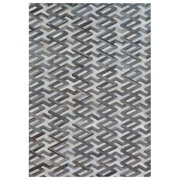 Natural Hide Hand-Tufted Cowhide Ivory/Gray Area Rug by Exquisite Rugs