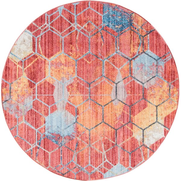 Beal Prism Red/Blue Area Rug by Wrought Studio