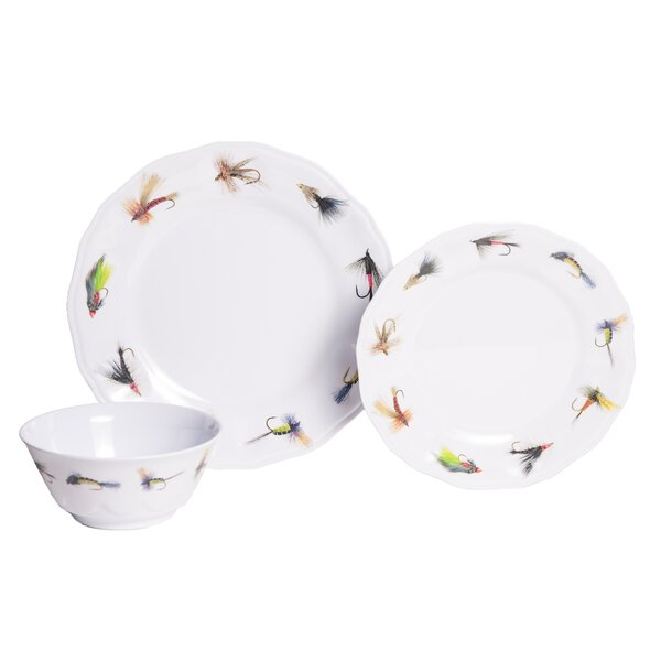 Timmons Fishing Flies Melamine 12 Piece Dinnerware Set, Service for 4 by Loon Peak