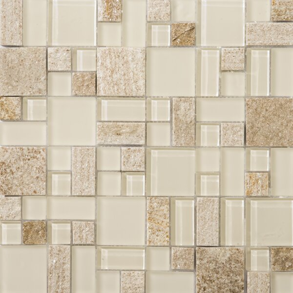 Lucente 13 x 13 Glass Stone Blend Pattern Mosaic Tile in Servolo by Emser Tile